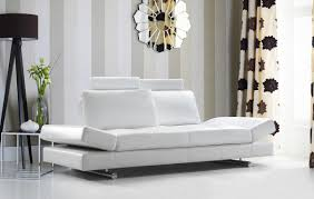White Leather Tufted Sofa Modern White Leather Sofa W Adjustable Backrest