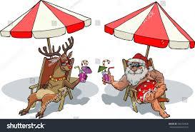 santa claus reindeer sunbathe vector illustration stock vector