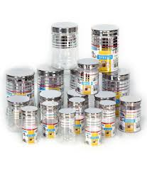 100 stainless steel kitchen canisters sets white square