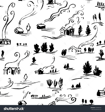 hand drawn seamless pattern winter landscape stock vector