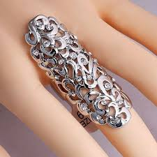 double knuckle rings images Women hollow out rings silver gold color flower carving gothic jpg