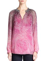 diane von furstenberg leysa printed silk blouse in pink lyst
