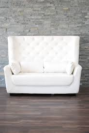 High Back Wing Chairs For Living Room by White Leather High Back Tufted Love Seat Platinum Event Rentals