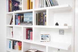 decorations simple white open plan wooden shelving ideas as room