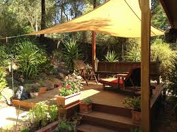 Backyard Shade Solutions by Exterior Back Yard Landscaping With Rocks And Wooden Fence Also