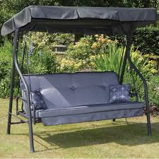 Patio Swings And Gliders Furniture Patio Swing With Soft Cushion Over Iron Material Of