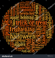 black and orange halloween background halloween word cloud shape circle on stock illustration 160379183