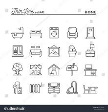 home interior furniture more thin line stock vector 361554965