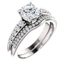 gold wedding set diamond exchange engagement rings