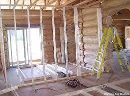 log home interior walls days 12 and 13 interior framing cowboy log homes