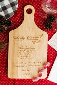 cutting board with recipe engraved heirloom engraved recipe cutting board he and she three