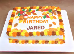 layered sheet cake fall and autumn themed design