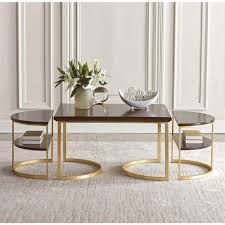 Nesting Dining Table Maxwell Wood Metal Nesting Coffee Table Kathy Kuo Home