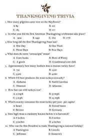 thanksgiving trivia thanksgiving fall trivia