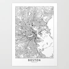 Boston Harborwalk Map by Boston Art Prints Society6