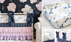 Lemon Nursery Curtains Ale S Sweet Navy Floral Nursery Caden
