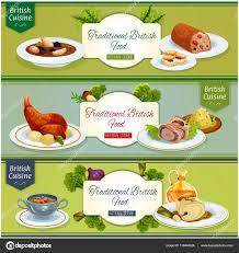 britische küche küche nationalgerichte banner set design stockvektor 136844926