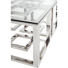 Stainless Desk Mercer Stainless Steel Silver Square Glass Coffee Table Kathy