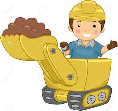 illustration of a smiling kid operating a bulldozer stock photo