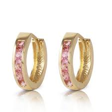 gold huggie earrings 14k solid gold hoop huggie earring with pink sapphires