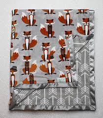 minky blanket fox blanket baby blanket baby boy modern blanket