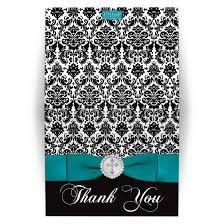 damask ribbon personalized thank you card printed teal ribbon black white