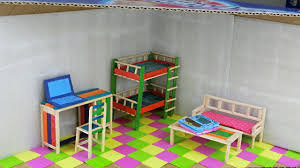 How To Make Homemade Dollhouse Furniture How To Make A Doll Room From Cardboard Easy Crafts Youtube