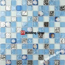 blue glass mosaic wall tile kitchen backsplash resin shell mosaics