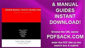 repair manual toyota tacoma 1998 video dailymotion