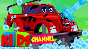 monster truck car wash kids vehicles cartoon cars
