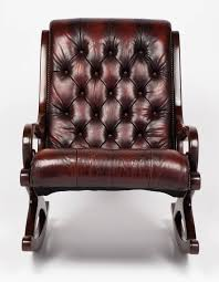 Rocking Chair Couch French Vintage Tufted Leather And Mahogany Rocking Chair At 1stdibs
