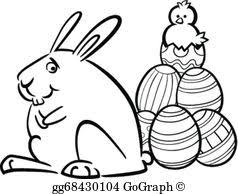 vector illustration bunny painting easter egg coloring page