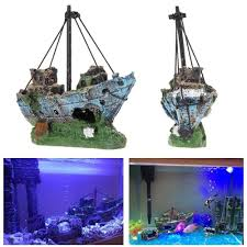 aquarium decoration decor 10 gallon tank pirate ship shipwreck