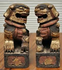 gold foo dogs foo dog pair wood carved guardian fu lions imperial gold