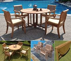 Patio Stack Chairs Wholesaleteak 5 Teak Dining Set With 48 Inch Folding Patio