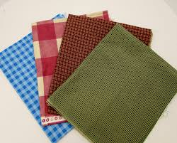 gingham check cotton fabric 4 prints of different sizes and