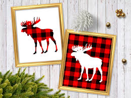 buffalo plaid moose print red plaid cabin decor rustic
