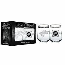 set of two game of thrones stemless wineglasses stark walmart com