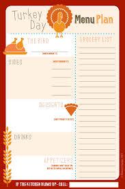 thanksgiving thanksgiving dinner menu planner printable and