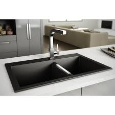 Granite Sink Double Bowls Black Plumbing Artika - Black granite kitchen sinks