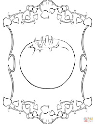 vignette frame with tomato coloring page free printable coloring