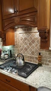 kitchen backsplash travertine custom herringbone patterned silver travertine backsplash