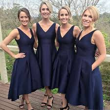 high low v neck sleeveless navy blue prom bridesmaid dress with
