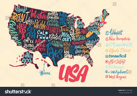 States Of Usa Map by Silhouette Map Usa Handwritten Names States Stock Vector 641077066