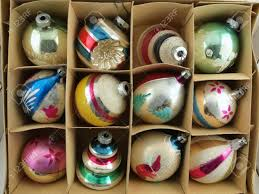 vintage ornaments in their original box stock photo