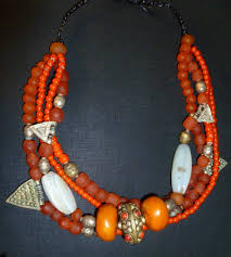 orange bead necklace images Kasbah necklace orange red jpg