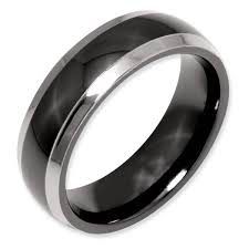 mens black titanium wedding rings titanium two tone 7mm polished men s wedding band samuels jewelers