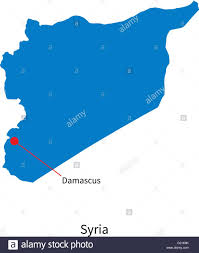 Damascus Syria Map Detailed Vector Map Of Syria And Capital City Damascus Stock