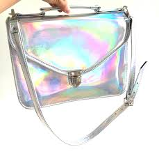 holographic bags mady large holographic mirror vegan non leather crossbody bag