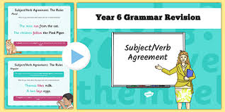 year 6 grammar revision guide and quick quiz subject verb
